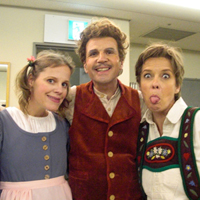 "Backstage: Wolfgang Holzmair (Father) with his ""children"" Hansel (Angelika Kirchschlager, right) and Gretel (Camilla Tilling, left) after a performance of Humperdinck's ""Hansel and Gretel"" on a Japan tour under Ozawa 2008"